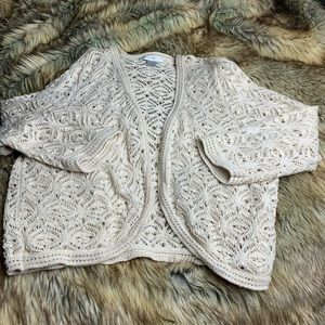 CJ BANKS CROUCHED CREAM CARDIGAN SIZE 1X
